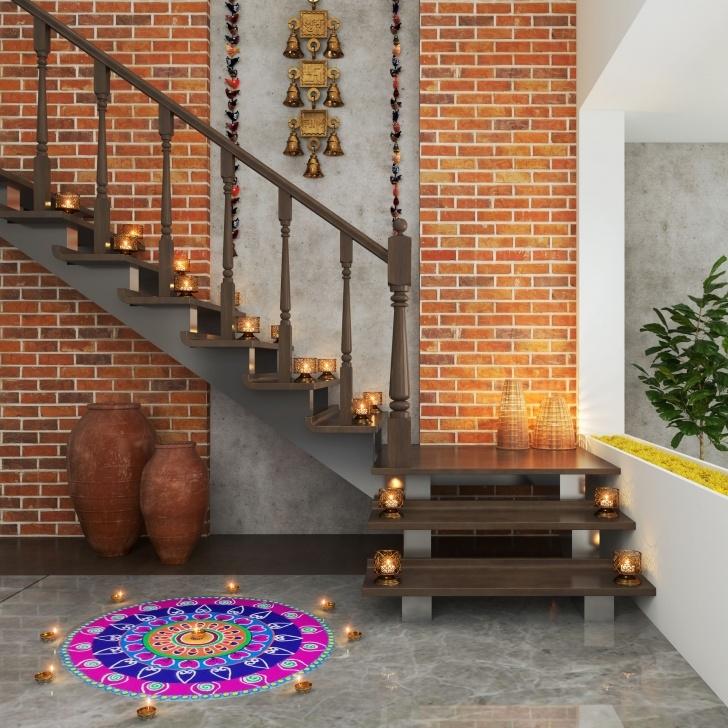 Fantastic Duplex Stairs Wall Design Photo 666