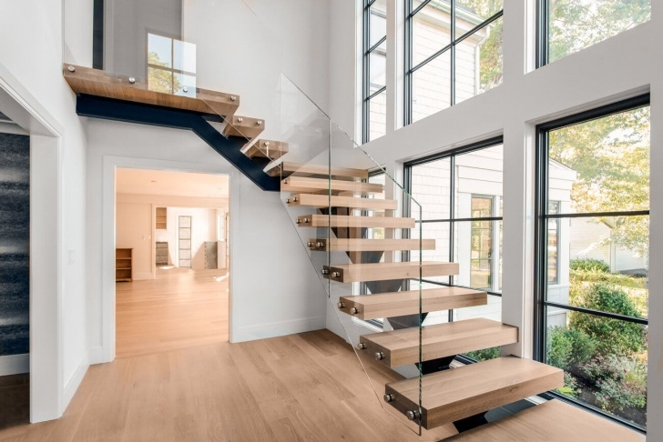 Gorgeous Double L Shaped Staircase Design Photo 584