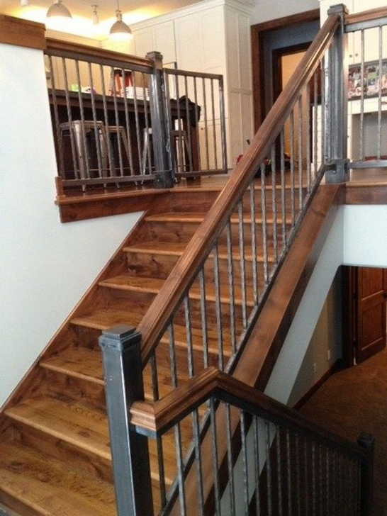 Gorgeous Iron And Wood Staircase Photo 851