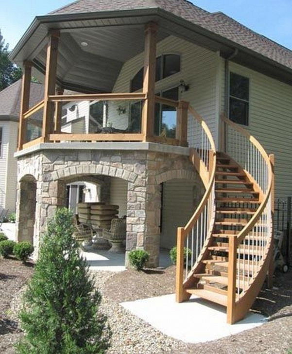 Interesting House Design With Stairs Outside Photo 062