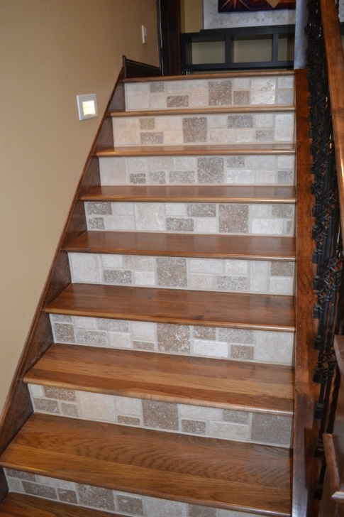 Simple Wood Stairs With Tile Risers Photo 051