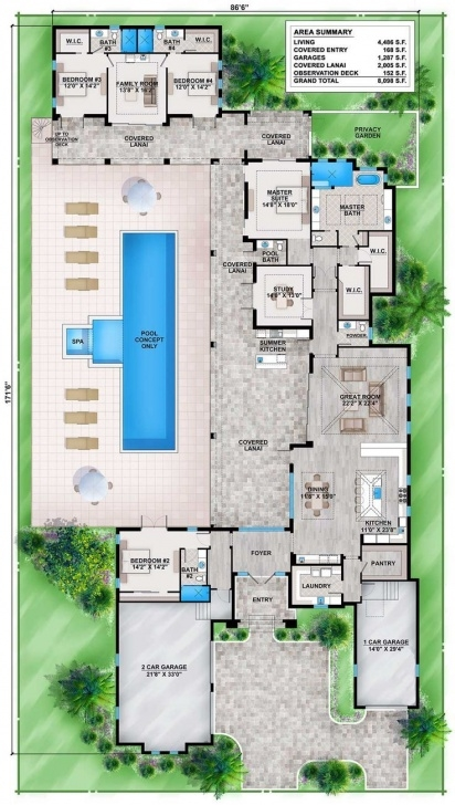 Stylish House Plans With Stairs In The Middle Image 678