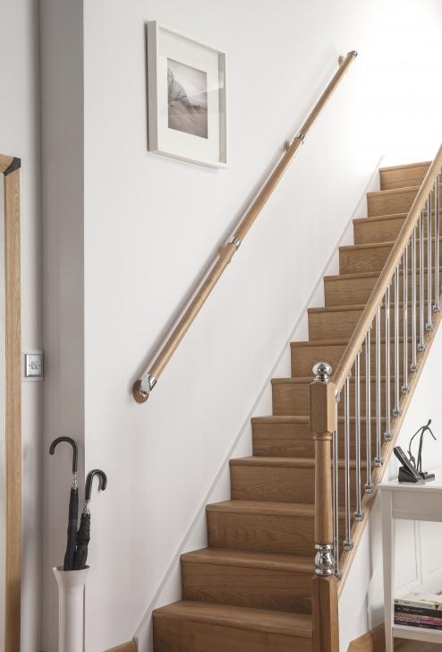 Stylish Wall Mounted Handrails Wood Photo 024
