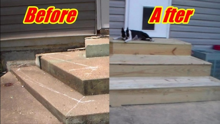 Best Wood Front Steps Over Concrete Image 013