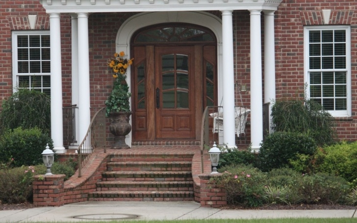 Cool Front Door Brick Steps Design Photo 854