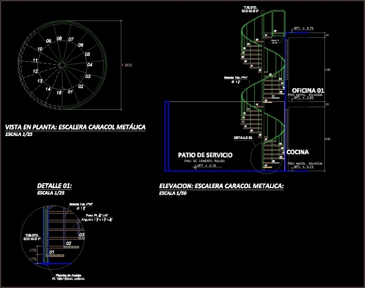 Creative Spiral Staircase Autocad Photo 138