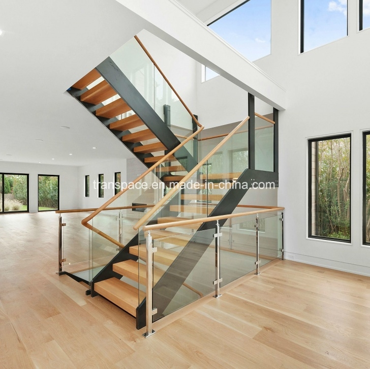 Creative Wood And Glass Staircase Railing Photo 847