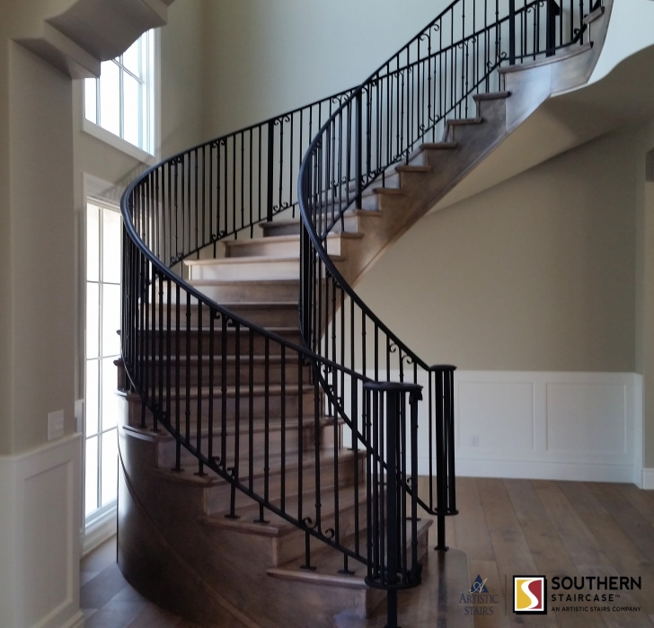 Easy Curved Stair Railing Photo 293
