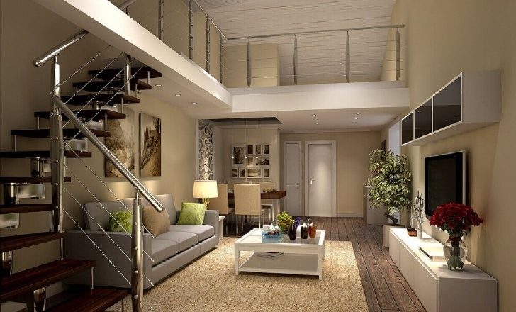 Fantastic Duplex Living Room With Stairs Photo 823
