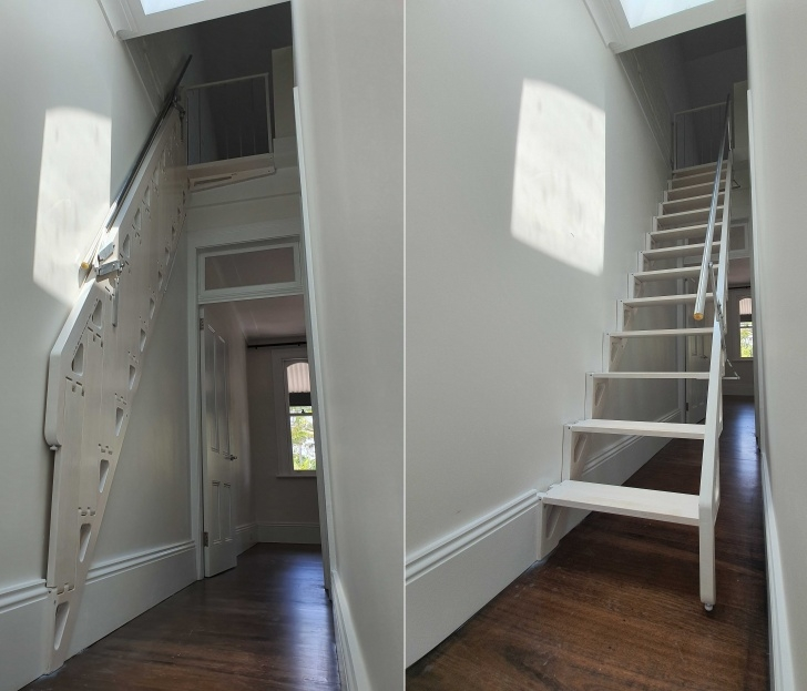 Gorgeous Folding Stairs With Handrails Photo 414