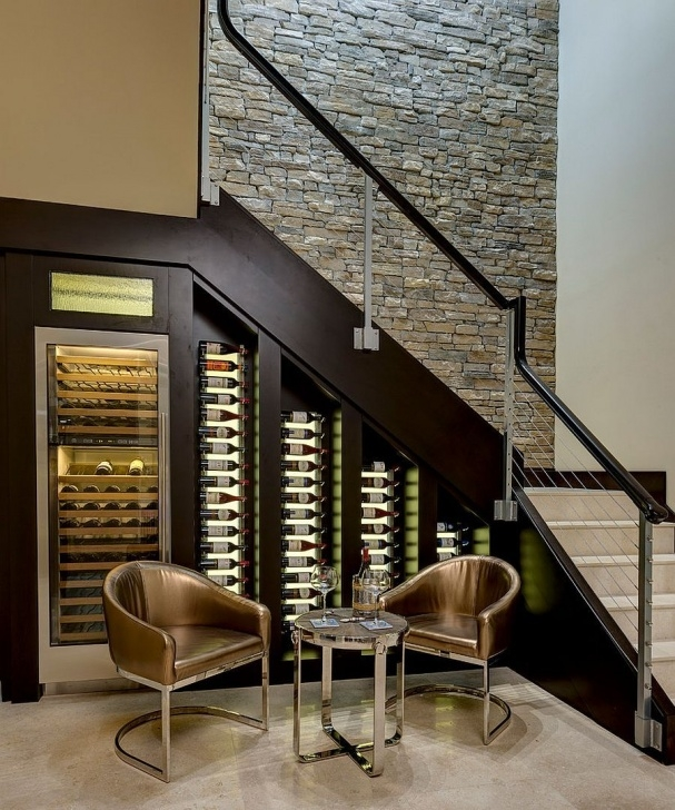 Imaginative Wine Bar Design Under Stairs Image 405