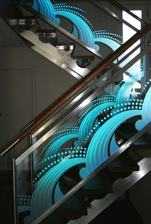 Innovative Glass Etching Designs For Staircase Photo 812