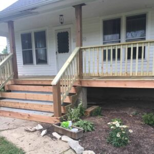 Wood Front Steps Over Concrete