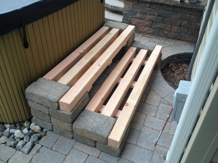 Inspiring Wood Steps On Concrete Patio Image 088