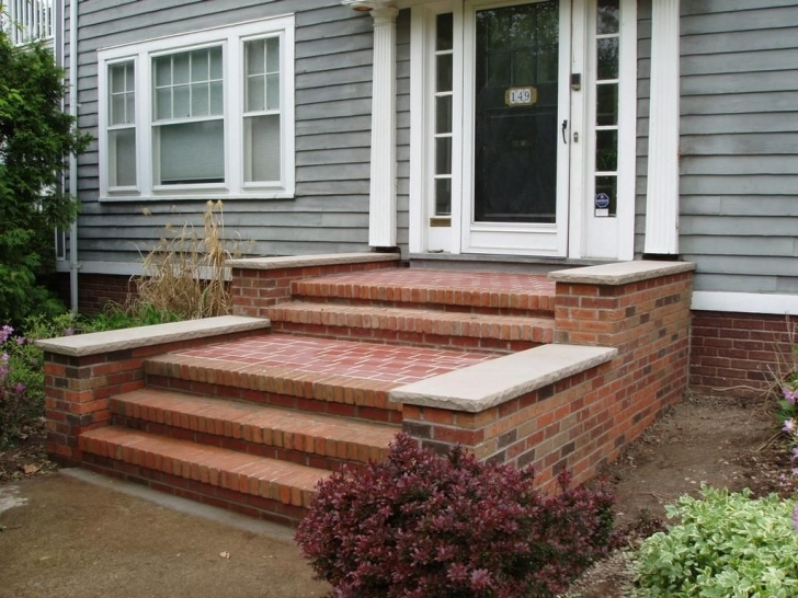 Interesting Front Door Brick Steps Design Picture 297