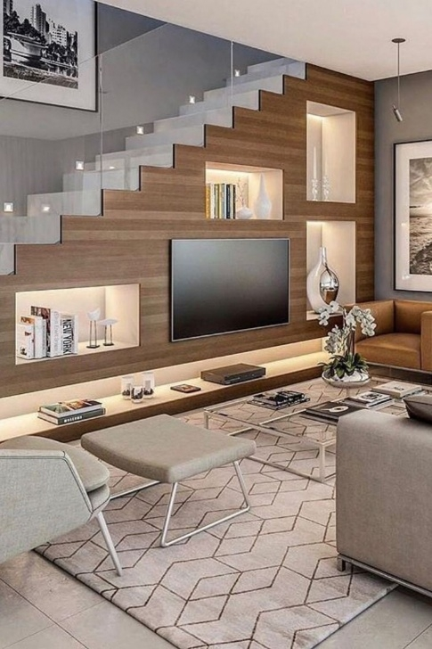 Interesting Living Room Design Under Stairs Image 804