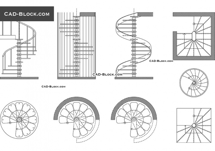 Most Creative Spiral Staircase Autocad Picture 461