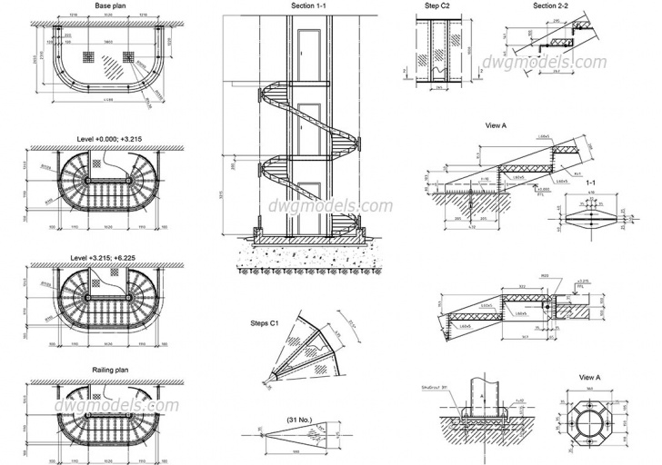 Outstanding Spiral Staircase Autocad Photo 783