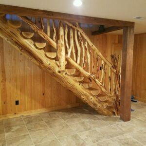 Log Stair Railing