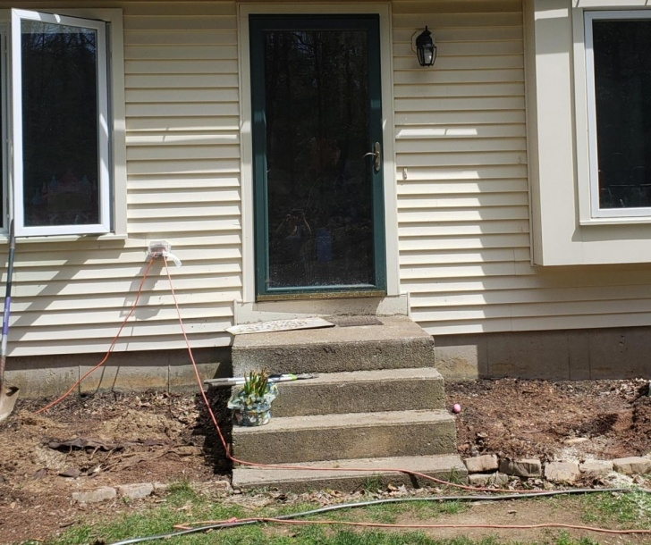 Simple Wood Front Steps Over Concrete Photo 957