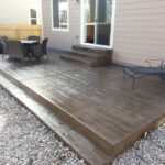 Simple Wood Steps On Concrete Patio Image 073