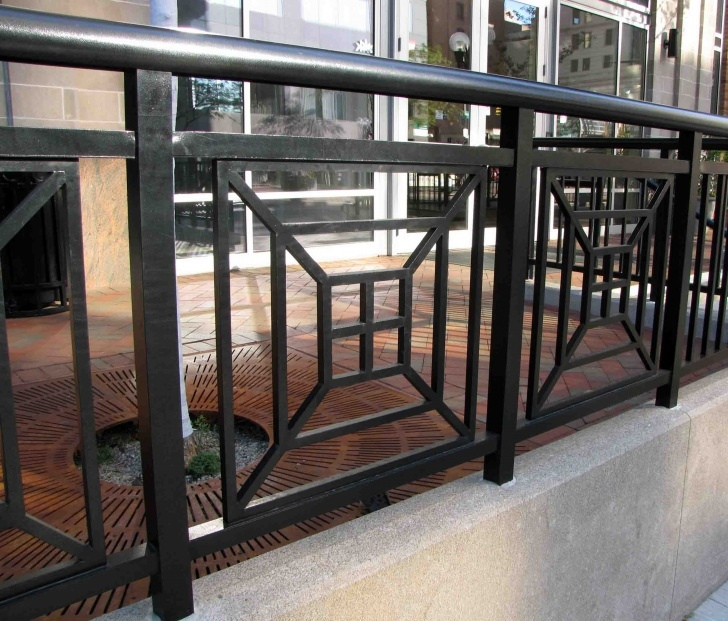 Stylish Exterior Metal Stair Railing Image 812