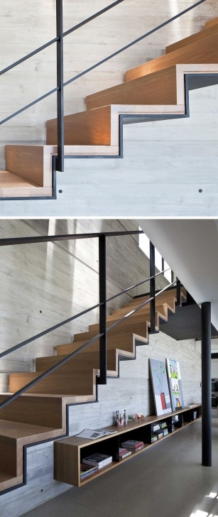 Stylish Wood And Concrete Stairs Image 102